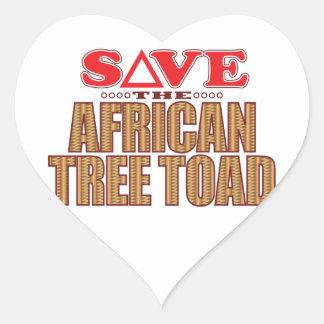 Reserva africana del sapo de árbol pegatina en forma de corazón