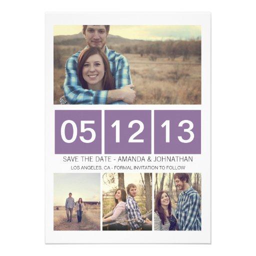 Reserva ajustada púrpura de la foto que la fecha i invitacion personal