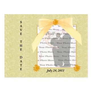 Reserva amarilla de la flor la postal de la fecha