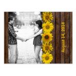 Reserva amarilla de madera de la foto del girasol  postal