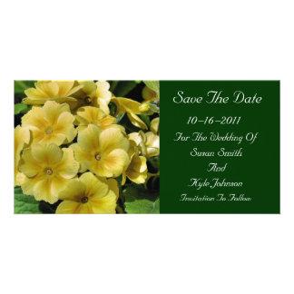 Reserva amarilla del boda de la flor de la primave tarjetas personales