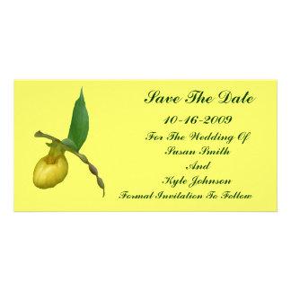Reserva amarilla del boda de la flor del deslizado tarjeta fotográfica personalizada