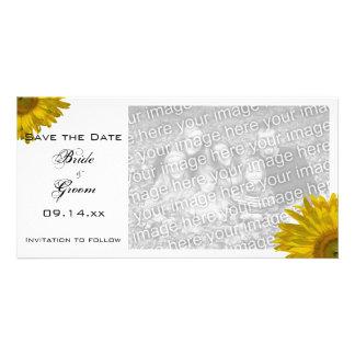 Reserva amarilla del boda del girasol la tarjeta d tarjetas personales con fotos