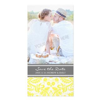 Reserva amarilla del gris las tarjetas de la foto  tarjeta fotografica personalizada