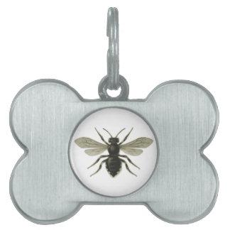 Reserva amarilla del negro de la abeja reina las a placas de nombre de mascota