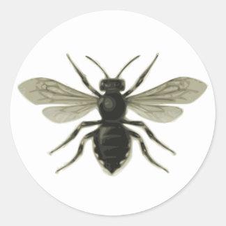 Reserva amarilla del negro de la abeja reina las pegatinas redondas