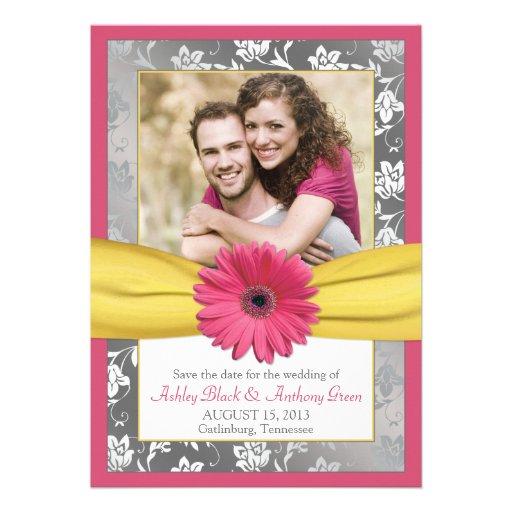 Reserva amarilla gris de la foto del damasco de la comunicado personalizado