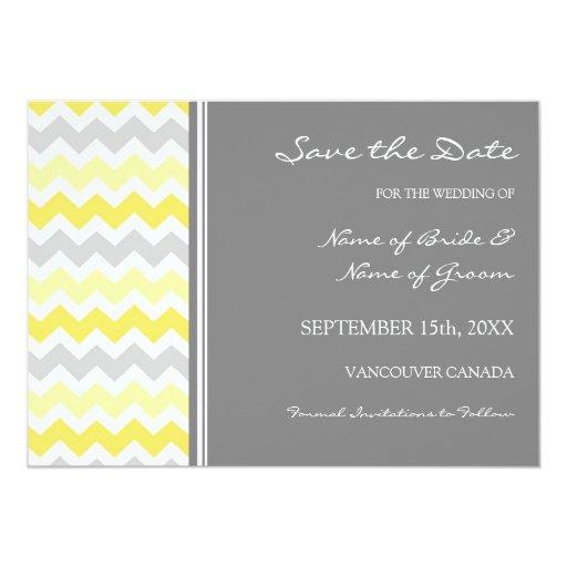 Reserva amarilla gris del boda la tarjeta de fecha anuncios