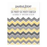 Reserva amarilla y gris del zigzag la fecha tarjetas postales