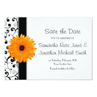Reserva anaranjada de la voluta del negro de la invitación 12,7 x 17,8 cm