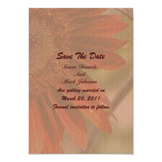 Reserva anaranjada del boda de la flor del girasol invitación