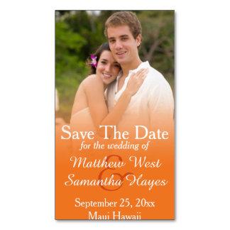 Reserva anaranjada del boda de la foto la fecha tarjetas de visita magnéticas (paquete de 25)