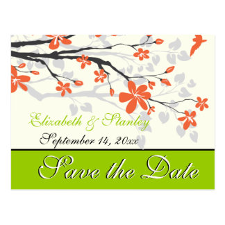 Reserva anaranjada del boda de la verde lima de la tarjeta postal