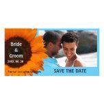 Reserva anaranjada del boda del girasol la tarjeta