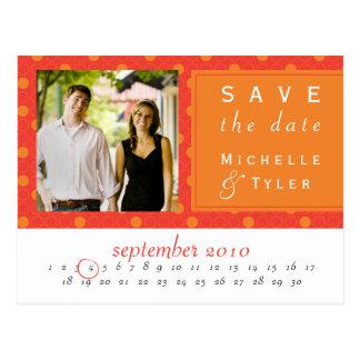 Reserva anaranjada del círculo la tarjeta de fecha postal