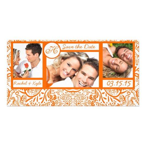 Reserva anaranjada del damasco de 3 de las fotos tarjetas personales