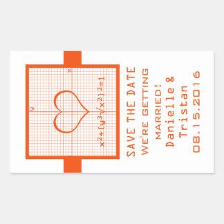 Reserva anaranjada del gráfico de la matemáticas pegatina rectangular