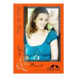 Reserva anaranjada moderna del boda la plantilla d comunicados personalizados
