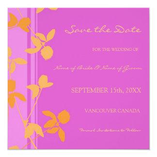 Reserva anaranjada rosada del boda de la foto la invitación 13,3 cm x 13,3cm