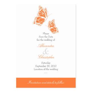 Reserva anaranjada simple de la mariposa el tarjetas de visita grandes