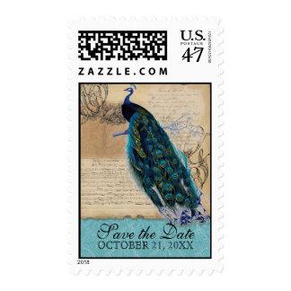 reserva antigua del boda del vintage del pavo real sello