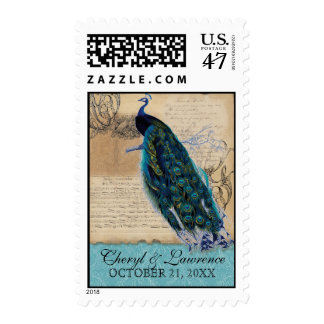 reserva antigua del boda del vintage del pavo real timbres postales