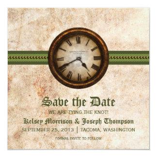 Reserva antigua verde del reloj la invitación de