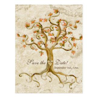 Reserva Antiqued raíces del boda del pergamino del Postal