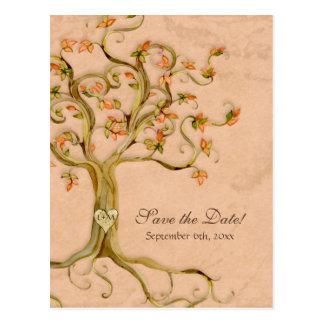 Reserva Antiqued raíces del boda del pergamino del Tarjeta Postal