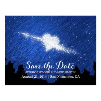 Reserva artística de la noche estrellada el boda tarjeta postal