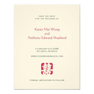 """Reserva asiática del boda del hei rojo la invitación 4.25"""" x 5.5"""""""