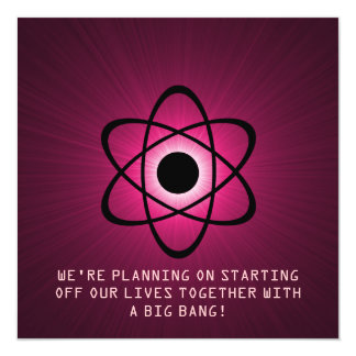 "Reserva atómica que la fecha invita, fucsia invitación 5.25"" x 5.25"""