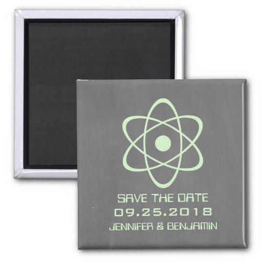 Reserva atómica verde de la pizarra el imán de la