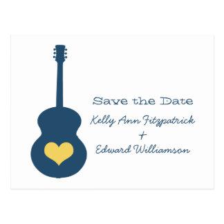 Reserva azul/amarilla del corazón de la guitarra l tarjeta postal