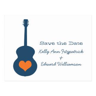 Reserva azul/anaranjada del corazón de la guitarra tarjetas postales