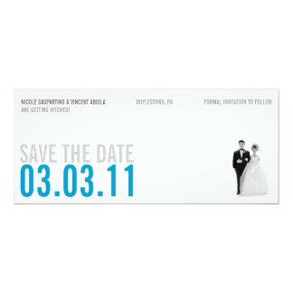 """Reserva azul clara del kitsch la fecha invitación 4"""" x 9.25"""""""
