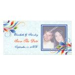 Reserva azul claro de la hoja colorida de la plantilla para tarjeta de foto