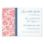 Reserva azul coralina del boda la tarjeta de fecha invitacion personalizada