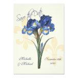 Reserva azul de la flor de lis del iris la fecha invitación 12,7 x 17,8 cm