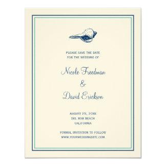 Reserva azul de la invitación del boda del