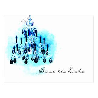 Reserva azul de la lámpara la plantilla de la fech tarjetas postales