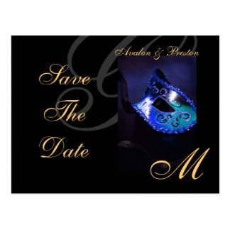 Reserva azul de la máscara de la mascarada la post tarjetas postales