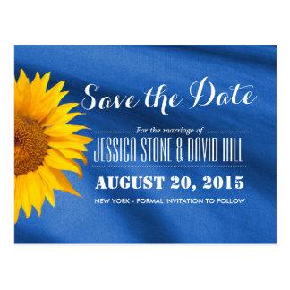 Reserva azul de la tela del girasol amarillo la tarjetas postales