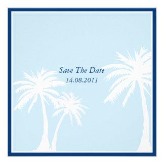 Reserva azul del boda de la palmera la fecha comunicados