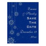Reserva azul del boda de los copos de nieve crista postales