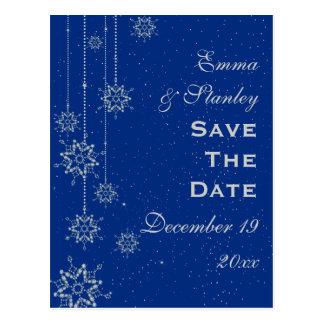 Reserva azul del boda de los copos de nieve postales