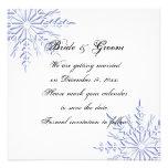 Reserva azul del boda del copo de nieve la invitac