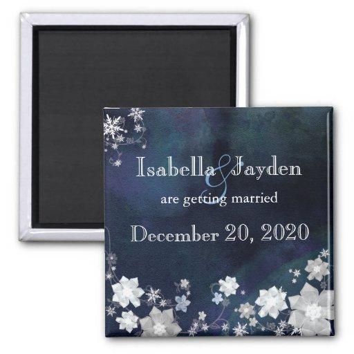 Reserva azul del boda del invierno de las flores d imán para frigorífico