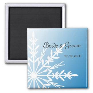 Reserva azul del boda del invierno del copo de nie imán para frigorifico