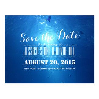 Reserva azul del boda del mar inferior hermoso la  postales